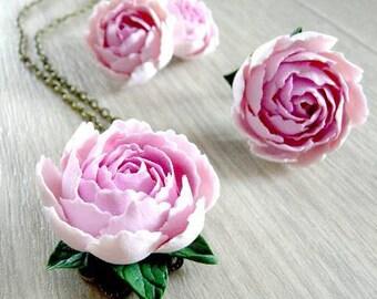 Peonies jewelry set handmade, polymer clay peony, flower set, realistic flower set, peony earrings, peony necklace, peony ring, pink peony