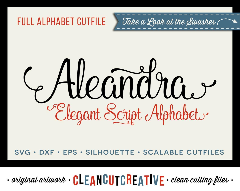 Download Full Alphabet SVG Fonts Cutfile Elegant Swash Script cricut