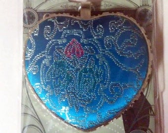 Blue Moon Beads Oriental Express Puffy Fabric Embroidered Heart Pendant Gold Tone
