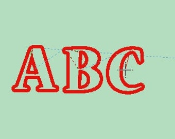 applique font machine embroidery design in 5 sizes