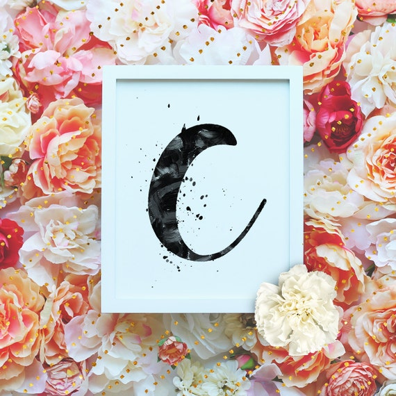 "Monogram Letter ""C"" Printable Wall Art - 8x10"" - ""C"" Name Art Print- Initial Poster- B&W Typographic Monogram - Dorm Decor"