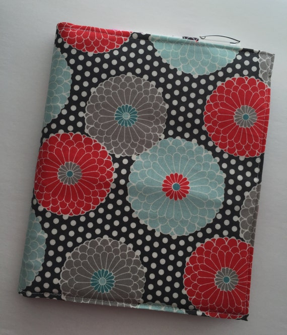 Happy Planner cover - fabric: Daisies (coral, light blue and grey)