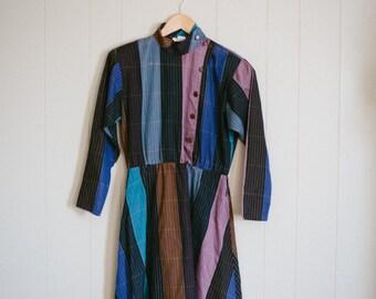 Vintage Medium Purple Rose Blue Dress