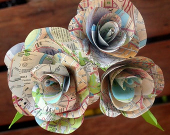 Map Paper Roses - Book page roses, Travel Gift, flowers
