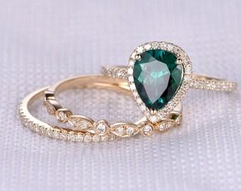 3pcs Wedding Ring Set,Emerald Engagement ring,14k Yellow gold,diamond Matching Bands,Art Deco Ring,6x8mm Pear Cut,Morganite Available