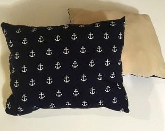Navy and Tan Nautical Anchor Pillow