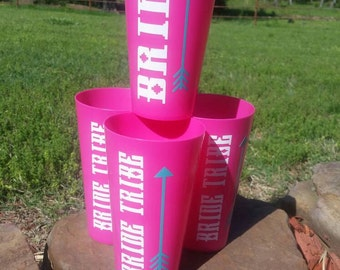 Set of 4 Bride & Bride Tribe cup set/wedding party cups/ Bachelorette party cups