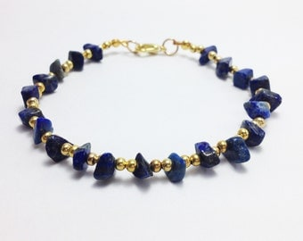 Lapis anklet Blue lapis gravel with gold  brass beads Woman anklet