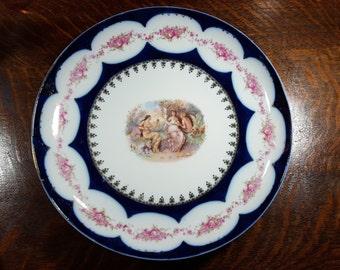 Antique Victoria Carlsbad Austria Platter with Flow Blue Edges Signed Carl Larson