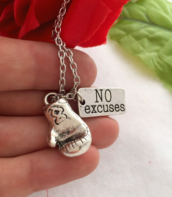 Boxing Glove Charm, Boxing Glove Jewelry, MMA Jewelry, No Excuses Charm Necklace, Boxer Fighter Gifts, Word Charms, Motivational Quotes