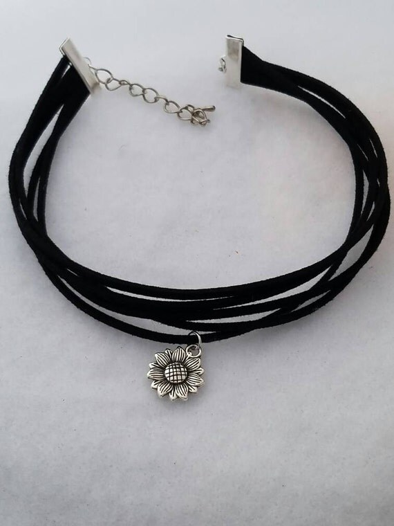 Sunflower Choker, Black Leather Choker, Sunflower Jewelry, Multi Strand Leather Choker, Sunflower Charm, Flower Charm, Sunflower Jewelry