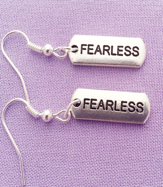 Fearless Charm Earrings, Inspirational Jewelry, Crossfit Jewelry, Crossfit Charms, Motivational Earrings, Word Charms, Mother's Day Gifts