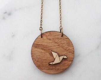 "Necklace ""Zélie in the moon"", wood way origami bird"
