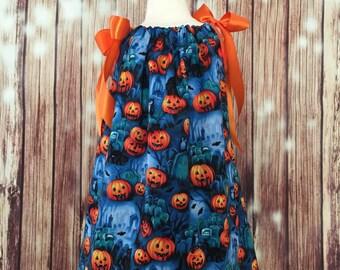 All Pumpkins Pillowcase dress, Pillowcase Dress with Pumpkins, Pillowcase dress for Halloween, Halloween pillowcase dress, All Pumpkin dress