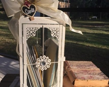Lantern, Rustic, Card holder, light gray