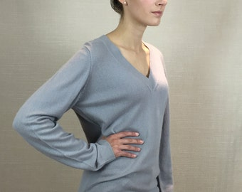 Grey 100% Pure Cashmere Women V neck Long Line Tunic Jumper Sweater