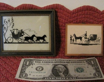 2 Small Silhouettes, Horse & Carriage Silhouettes, Vintage Silhouettes, Set of 2