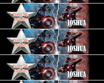 Captain America Water Bottle Labels