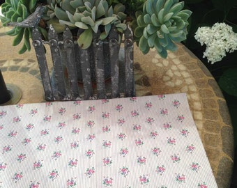 SALE Vintage 100% Cotton Fabric floral print (Grey,pink, blue, green) 2 yds