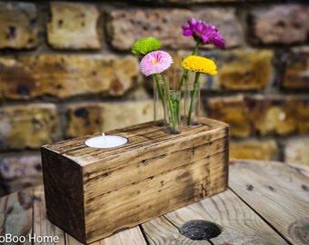 Wooden tea light holder with test tube vases for single stem flowers MBTL023