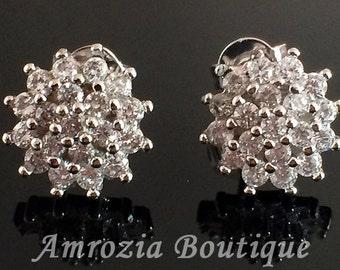 Cluster CZ stud earrings