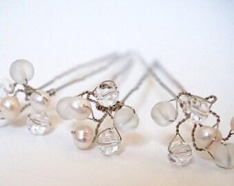 Crystal Bridal Hairpin Set, Crystals and pearls hairpins,  silver hairpin, Bridal hair accessories