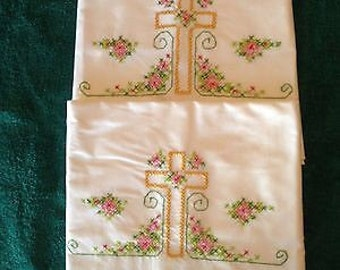 Embroidered religious handmade cross pillowcase set
