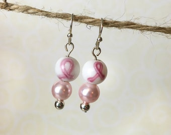 Breast Cancer Pink and White Pearl Sterling Silver Earrings