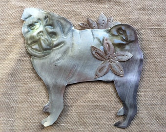 Pug with Flowers, facing left