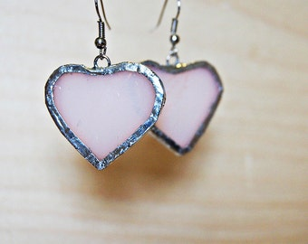 Antique Stained Glass Earrings - Pale Pink