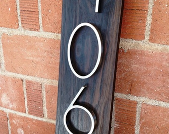 Modern Walnut Address Plaque- Custom- House Numbers- Address Sign- Modern House Numbers- Housewarming Gift