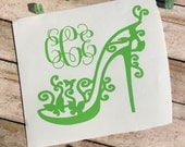 Monogram Butterfly High Heel Shoe , Heels Vinyl Decal For Yeti , Stripper Shoe Decal , Bridal Party Gift , Car Decal For Women , Shoe Lover