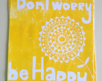 Dont Worry A3 Lino Print