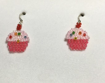 Beaded earrings -Cupcakes