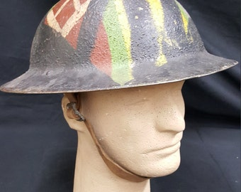 Original WWII U.S. Military Helmet & Leather Strap With Victory Paint