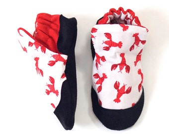 Lobster Print Baby Shoe, Soft Sole Baby Shoe, Baby Booties, Non Slip, Handmade, Genuine Suede, Lobster print,  Baby Moccasins