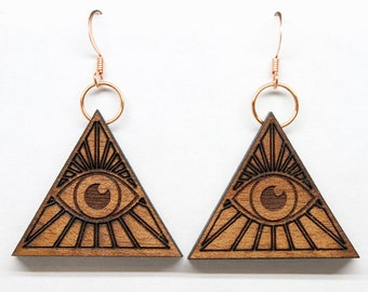 All Seeing Eye Earrings Brooch/Pin or Pendant, Eye of Horus, Eye of Providence, Eye of God, Evil Eye, Occult Earrings, Esoteric, Freemason