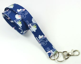 PARIS Fabric lanyard, Paris badge holder, Blue Paris lanyard, Blue Badge Holder, Blue Lanyard, Paris Lanyard