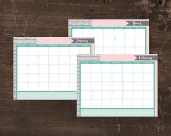 Printable 2017 calendar- Teal and pink