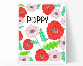 Instant Download - Jessica Weible Poppies Art Print - Red Poppy Flowers - Home Decor Wall Art - Nursery Wall Art - 8x10 - PR101