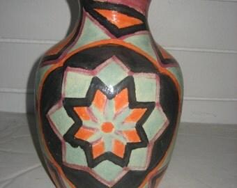 "10 1/2"" Blue/Orange/Purple/Black, Center Flower Ceramic/Pottery Vase"