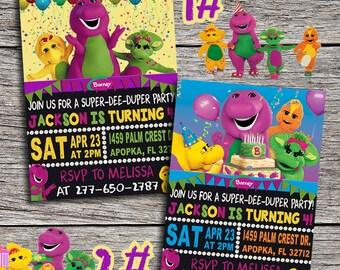 Barney Birthday Invitation - Digital Printable Barney And Friends Birthday Party Invite - Barney The Dinosaur Birthday - Barney Birthday