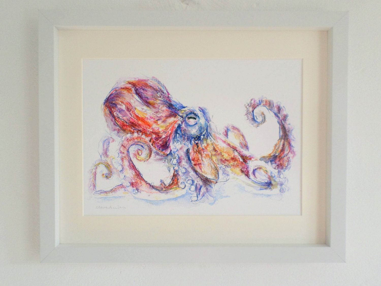Art print octopus bathroom home decor quirky by smockballpoint for Quirky bathroom decor