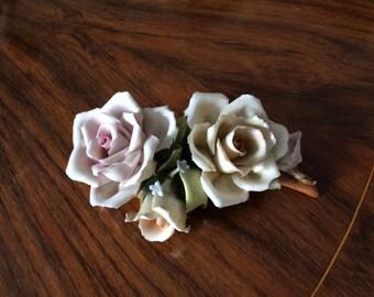 Vintage Capodimonte flowers/Vintage Capodimonte porcelain flower arrangement/Grandma/Gift ornament