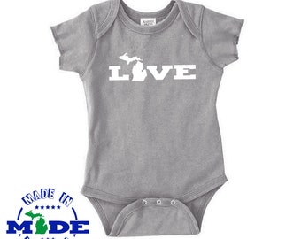 Love Michigan - Baby One-Piece - Michigan Shape Infant Bodysuit - Love Onesie