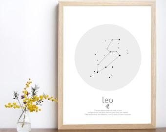 Leo constellation, leo art, leo print, horoscope art, zodiac constellation, constellation, astrology print, zodiac wall art, leo star sign