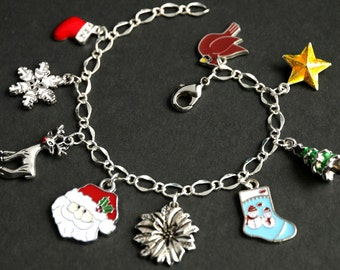 Holiday Bracelet. Santa Claus Charm Bracelet. Christmas Bracelet. Silver Bracelet. Holiday Jewelry. Xmas Jewelry. Handmade Jewelry.