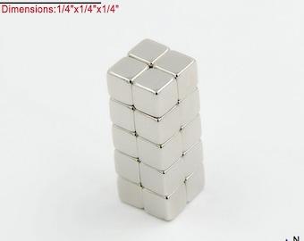 "20-Ct (Free Shipping) 1/4"" Rare Earth Neodymium N45 NdFeB Cube Magnets (Craft Magnets); True N45"
