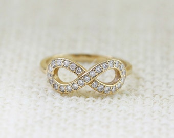 14K Diamond Infinity Ring, Promise Ring, 14K Yellow Gold Ring, Infinity Ring, Friendship Ring