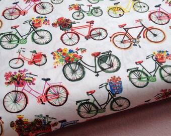 WINDHAM FABRICS Organic cotton multicoloured bicyle print fabric